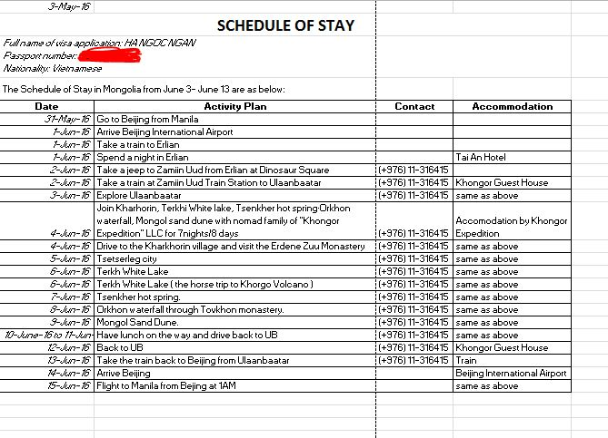 schedule of stay Mongolia